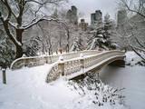 Snow Covered Bridge Central Park Adhésif mural par Henri Silberman