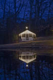 Christmas Lights on Cabin at Night Wall Decal by Henri Silberman