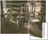 Old Wooden Chairs on Porch (Chapel Hill, NC) Wood Print by Henri Silberman