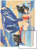 DC Wonder Woman Comics: Watercolor Design Wood Print
