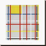 New York City, 3 Stretched Canvas Print by Piet Mondrian