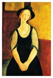Seated woman with hat Prints by Amedeo Modigliani