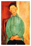 Boy in a blue shirt Prints by Amedeo Modigliani