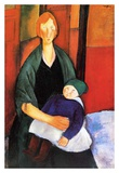 Seated woman with child Posters by Amedeo Modigliani