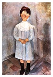 Little girl in blue Posters by Amedeo Modigliani