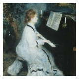 Femme au piano Poster von Auguste Renoir