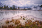 Amazing Mud Pot Sunrise Storm, Yellowstone Wyoming Photographic Print by Vincent James
