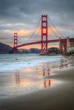 Marshall Beach Sunset and Golden Gate Bridge, California Photographic Print by Vincent James