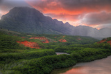 Fiery Sunset Landscape at Menehune Fishpond, Kauai Hawaii Photographic Print by Vincent James