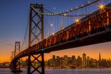 San Francisco Cityscape, Bay Bridge and Crescent Moon Photographic Print by Vincent James