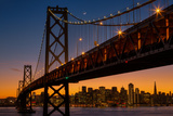 Bay Bridge and Crescent Moon Cityscape, California Photographic Print by Vincent James