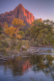 Watchman Reflection in Virgin River, Southwest Utah Photographic Print by Vincent James