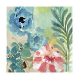 Blue Peach Floral I Giclee Print by Gayle Kabaker