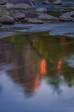 Watchman Detail in Virgin River, Zion Southwest Utah Photographic Print by Vincent James