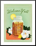 Welcome Y'all Ice Tea Mounted Print by  Anderson Design Group