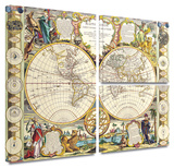 Samuel Dunn 'Mappe-Monde Carte Universelle de la Terre Dressee' Flag 3 piece gallery-wrapped canvas Poster by Samuel Dunn