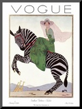 Vogue Cover - January 1926 Mounted Print by André E. Marty