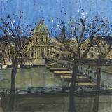 Paris in Winter, Passarelle des Arts Giclee Print by Susan Brown