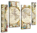 Samuel Dunn 'Mappe-Monde Carte Universelle de la Terre Dressee' 4 piece staggered Gallery-Wrapped C Gallery Wrapped Canvas Set by Samuel Dunn