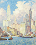 Hudson River Waterfront, New York Giclee Print by Colin Campbell Cooper