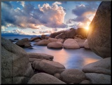 Cove Sunset Mounted Print by Dennis Frates