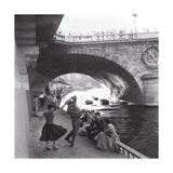 Rock 'n' Roll Dancers on Paris Quays, River Seine, 1950s Print by Paul Almasy