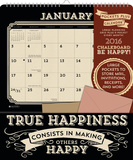 ChalkboardBe Happy! - 2016 Calendar with Pocket Calendars