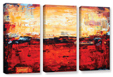 Jolina Anthony's Abstract Warm, 3 Piece Gallery-Wrapped Canvas Set Print by Jolina Anthony