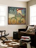 Pug on a Bike Schilderij van Ryan Fowler