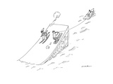 A water skier encounters a long jump downhill snow skier.  - New Yorker Cartoon Premium Giclee Print by Michael Maslin