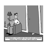 A man receives a note from under the closet door.  - New Yorker Cartoon Premium Giclee Print by J.C. Duffy