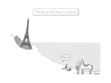 Planet of the Apes in French -- the Eiffel Tower replaces the Statue of Li… - New Yorker Cartoon Premium Giclee Print by Jacob Samuel