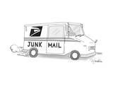 A postal truck has the phrase Junk Mail.  - New Yorker Cartoon Premium Giclee Print by Charlie Hankin