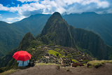 Tourist under the Shade of A Red Umbrella Looking at Machu Picchu Photographic Print by Mark Skalny