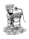 A cartoonist sits at his desk drawing. A thought bubble surrounds his head… - New Yorker Cartoon Premium Giclee Print by Zohar Lazar