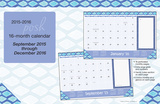 Posh: Indigo  - 2016 16 Month Desk Blotter Calendars