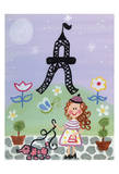 Poodle in Paris 2 Print by Tammy Hassett
