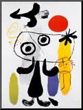 Figur Gegen Rote Sonne II, c. 1950 Mounted Print by Joan Miró
