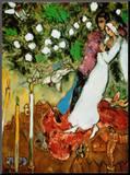 Tres velas Lámina montada en tabla por Marc Chagall