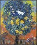 Otoño en la aldea Lámina montada en tabla por Marc Chagall