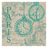 Time for Paris 1 Teal Posters by Nicole Tamarin