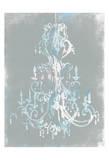 Blue grey chandelier Print by  OnRei