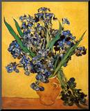 Vase of Irises Against a Yellow Background, c.1890 Mounted Print by Vincent van Gogh