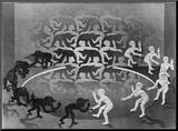 Encounter Mounted Print by M. C. Escher