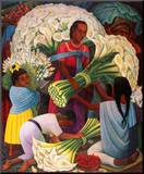 The Flower Vendor Mounted Print by Diego Rivera