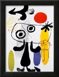 Figur Gegen Rote Sonne II, c. 1950 Print by Joan Miró