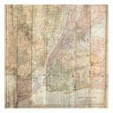 NY Map On Wood Art by Sheldon Lewis