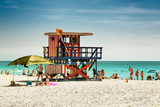 Beach Scene with a Life Guard Station - Miami Beach - Florida Photographic Print by Philippe Hugonnard