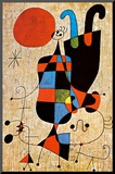 Upside-Down Figures Mounted Print by Joan Miró