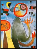 Echelles en Roue de Feu Traversant Mounted Print by Joan Miró